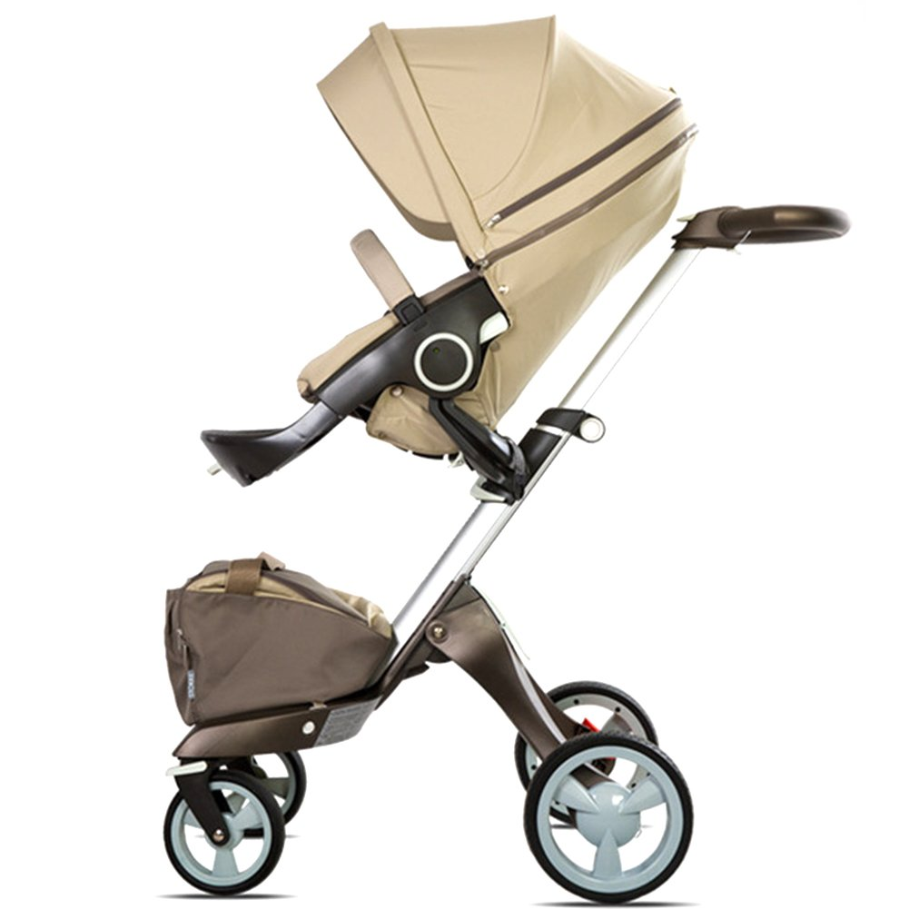 Binglinghua 2 in 1 Newborn Baby Stroller for Infant and Toddler Damping Vibration Convertible Baby Carriage Luxury High View Anti-shock Infant Pram Stroller Rubber Wheels (Khaki) by Binglinghua® (Image #2)