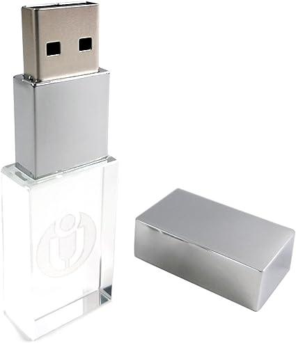 32GB USB 2.0 LED Light Flash Drive Crystal Transparent Glass Pen Drive Memory...