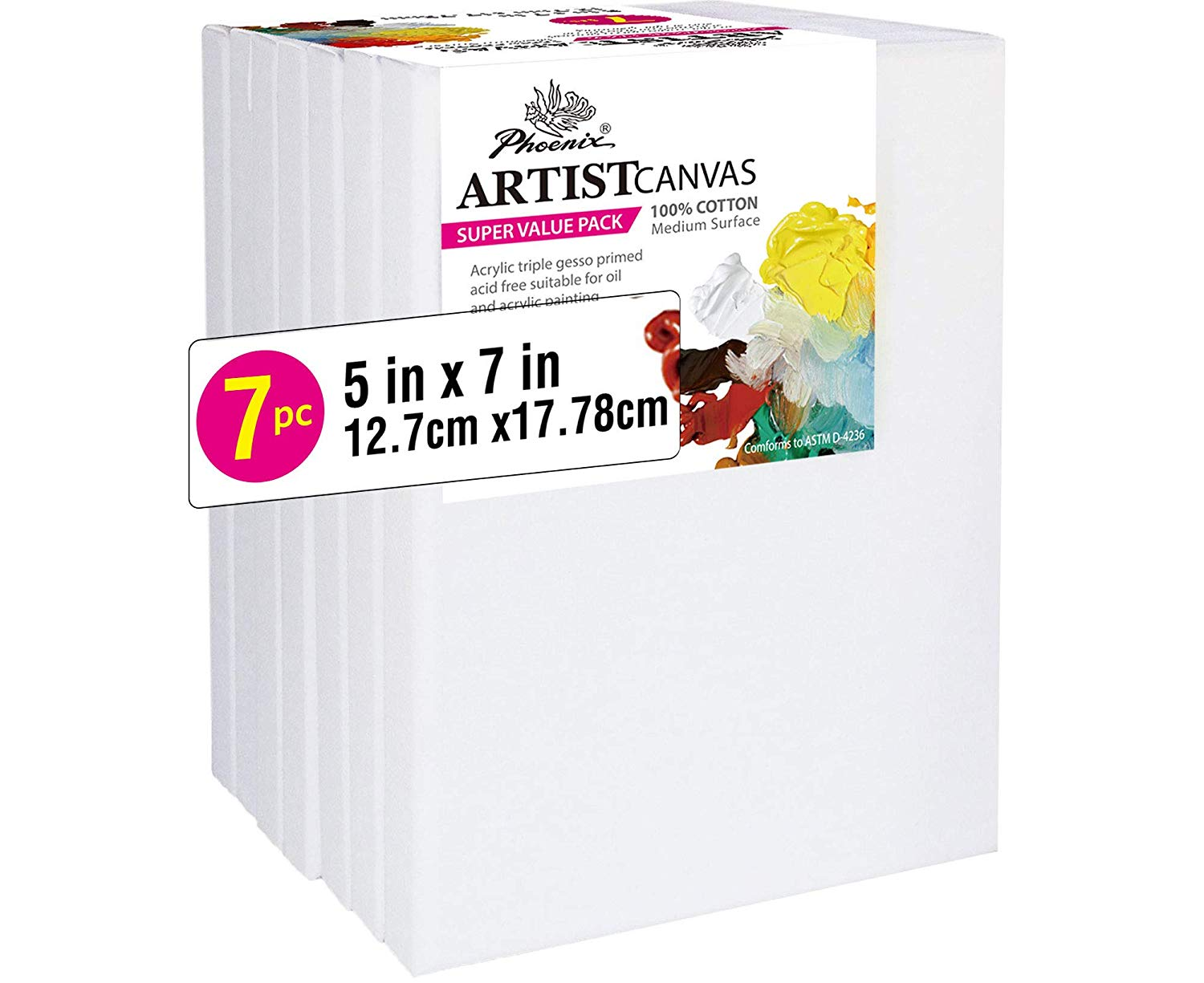 Oils /& Other Painting Media PHOENIX Pre Stretched Canvas for Painting 5//8 Inch Profile of Super Value Pack for Acrylics 8x10 Inch // 10 Pack