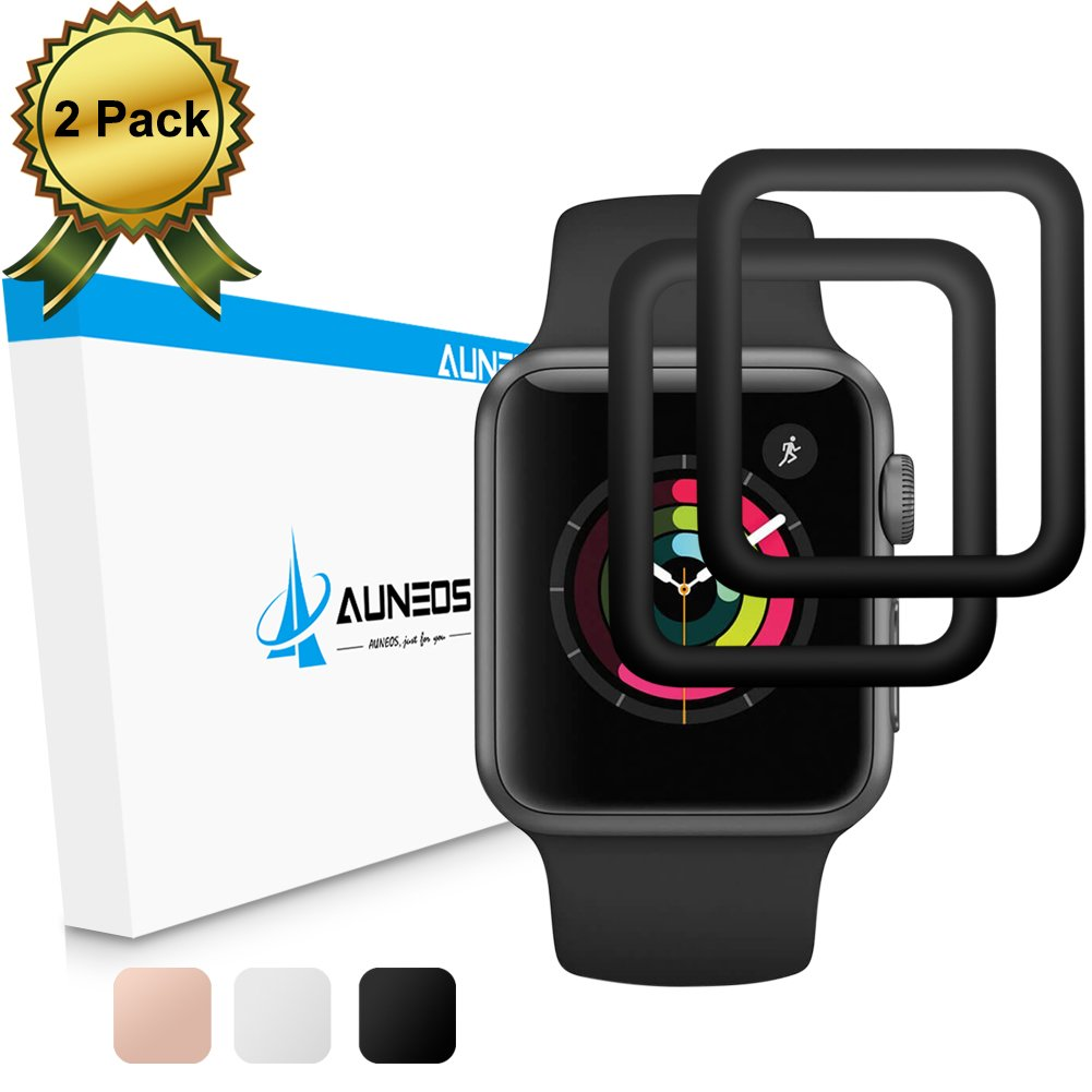 Screen Protector for Apple Watch [2 Pack] [Series 3/2], AUNEOS Series 3 42mm Protector for Apple Watch [Full Coverage] 3D Curved Edge Glass Screen Cover for Apple Watch 3/2 (Black, 42MM)