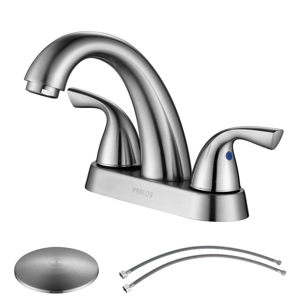 PARLOS 2-Handle Bathroom Sink Faucet with Drain Assembly and Supply Hose Lead-free cUPC Lavatory Faucet Mixer Double Handle Tap Deck Mounted Brushed Nickel,13598