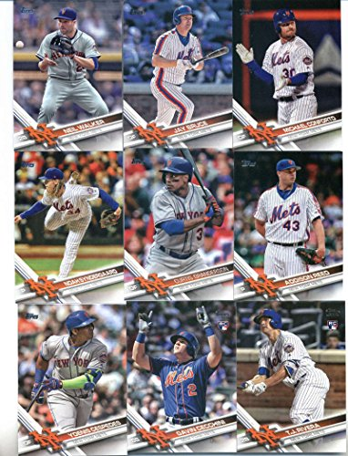 2017 Topps Series 2 New York Mets Team Set of 13 Cards: Michael Conforto(#408), Neil Walker(#416), New York Mets(#426), Jay Bruce(#428), Curtis Granderson(#525), Addison Reed(#546), T.J. Rivera(#553), Noah Syndergaard(#555), Yoenis Cespedes(#600), Gavin Cecchini(#604), Zack Wheeler(#631), Steven Matz(#632), Jose Reyes(#647)