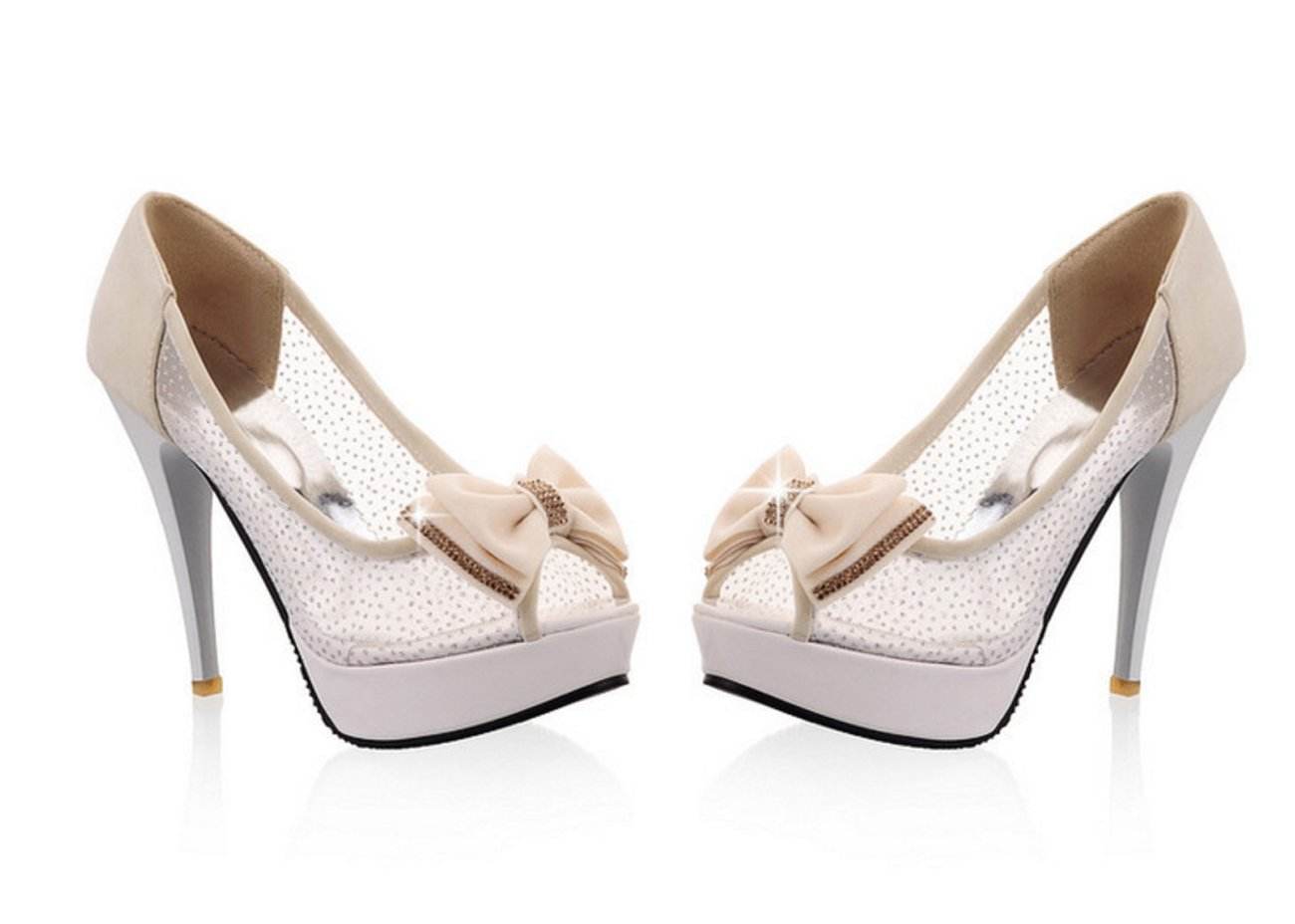 Frauen Schuhe Net PU Sommer Herbst Komfort Neuheit Heels Stiletto Peep Toe Bowknot Für Hochzeit & Abend Schwarz Beige Rosa