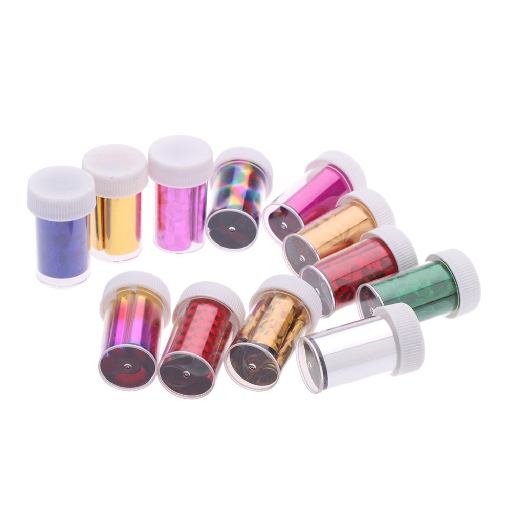 Warm Girl 12pc/lot Nail Art Transfer Foil Holographic Nail Art Sticker DIY Nail Art Decorations
