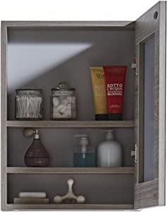 "InFurniture 17.7"" Medicine Cabinet in Grey Walnut Wood Texture Finish"