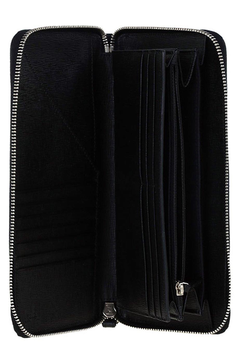 FENDI Men's Black Gray Zucca FF Zip Around Bifold Travel Wallet by Fendi