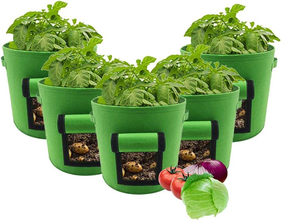 JoaSinc Potato Grow Bags 5 Gallon Garden Vegetables Planter Bag Planting Pots with Access Flap Vecro Window for Planting Potato Carrot Onion Taro Radish Peanut 5 Pack
