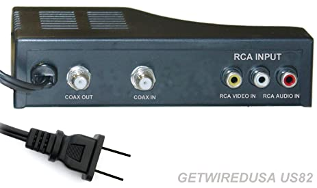 RF MODULATOR RCA COAX CABLE ADAPTER TV AV COAXIAL CONVERTER BOX AUDIO VIDEO, RCA IN
