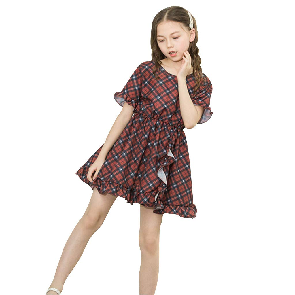 Girls Casual Dresses Short Sleeve Plaid Print Pleated Round Neck Mini Skirt Princess Dress (12-18 Months, Wine)
