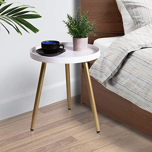 Tiita Round End Table Mental Side Table Nightstand/Small Wood Tables Accent Coffee Table