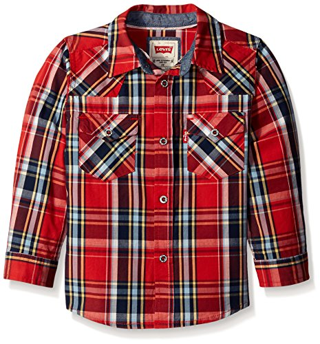 Levi's Big Boys' Levis Barstow Western Plaid Shirt, Mars Red, 6