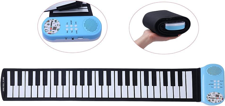 Piano electrónico CAHAYA Teclado de Piano Enrollable con 49 Teclas, compatible con pedales de sostenido, auriculares y altavoces, para niños y ...