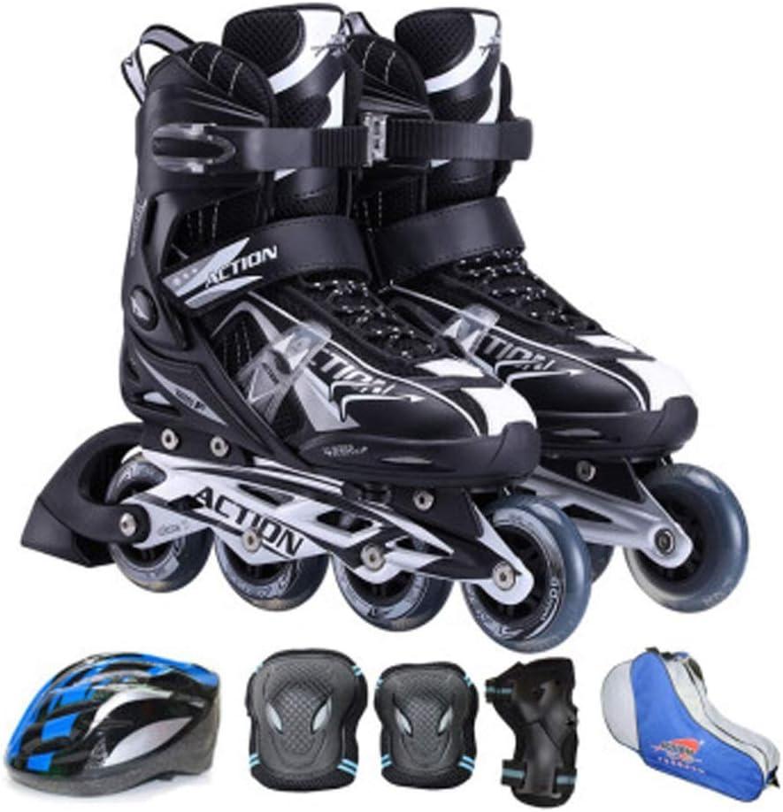 ローラーブレード、ローラースケート、インラインスケート、大人用、クラシックブラック、靴の収納袋、ハイプロファイル、初心者向けスケート、簡単に履ける、楽しいスケート、屋内/屋外用ローラースケート、すべての若い人たちのための誕生日、祭りマイルストーン (Size : 10)