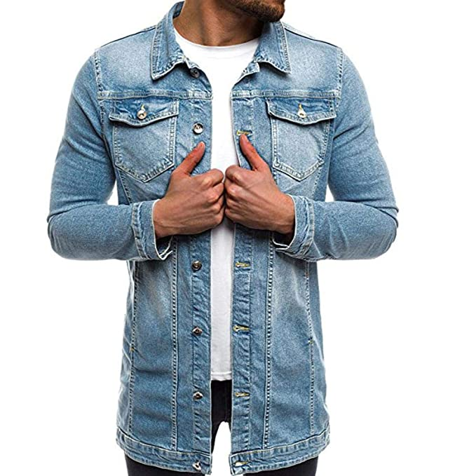 Yvelands Demin Jacket Moda Hombre Alta Calidad Casual Slim Fit Top Blusa Manga Larga Vintage Apenado