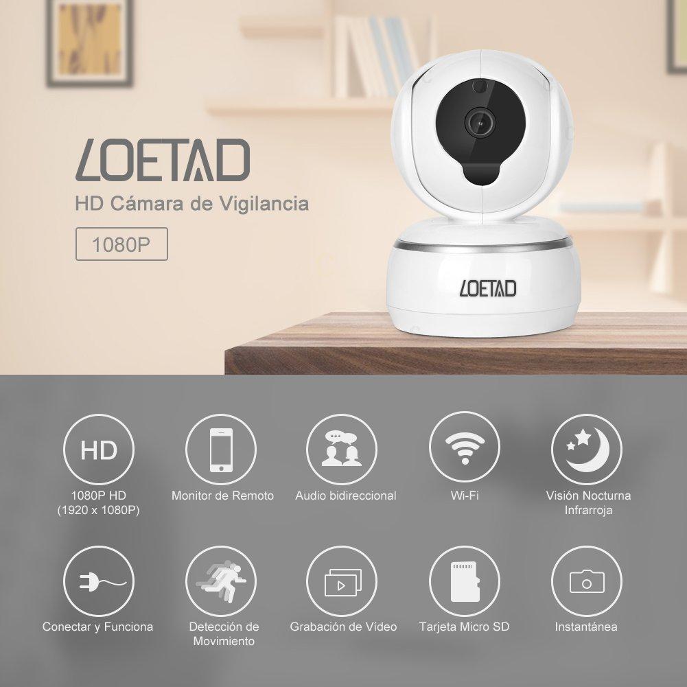 LOETAD IP Cámara de Vigilancia WiFi P2P HD 1080P Audio Bidireccional Visión Nocturna Detección de Movimiento Soporte de Tarjeta Micro SD Compatible con iOS ...