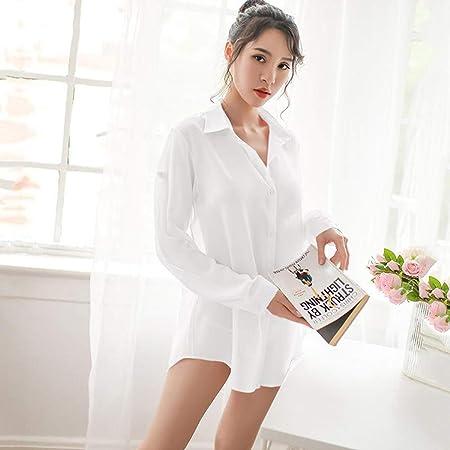 GJQION Pijamas Set Atractiva de Las Mujeres, de Malla Perspectiva Uniforme Camisa Tentador, Pares de Ligue con Encanto Vestimenta erótica,Blanco,S: Amazon.es: Hogar
