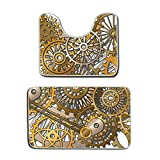 AMERICAN TANG Bathroom Rug Clock Decor The Gears In The Style Of Steampunk Mechanical Design Engineering Theme Gold And Brown 2 Piece Bath Mat Set Contour Rug