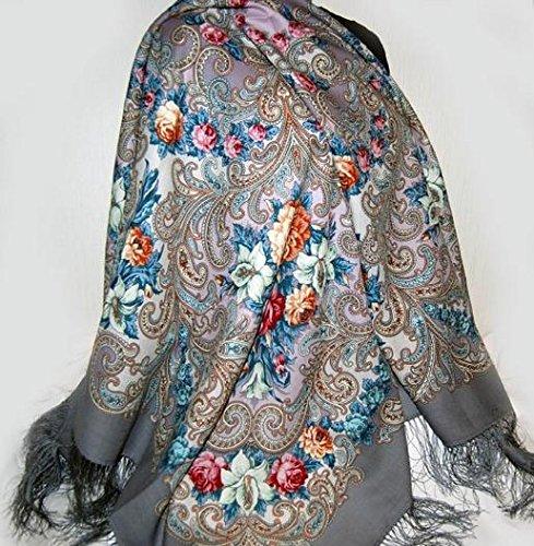 Russian Pavlov Posad Woolen Shawl Silk Fringe 50x50