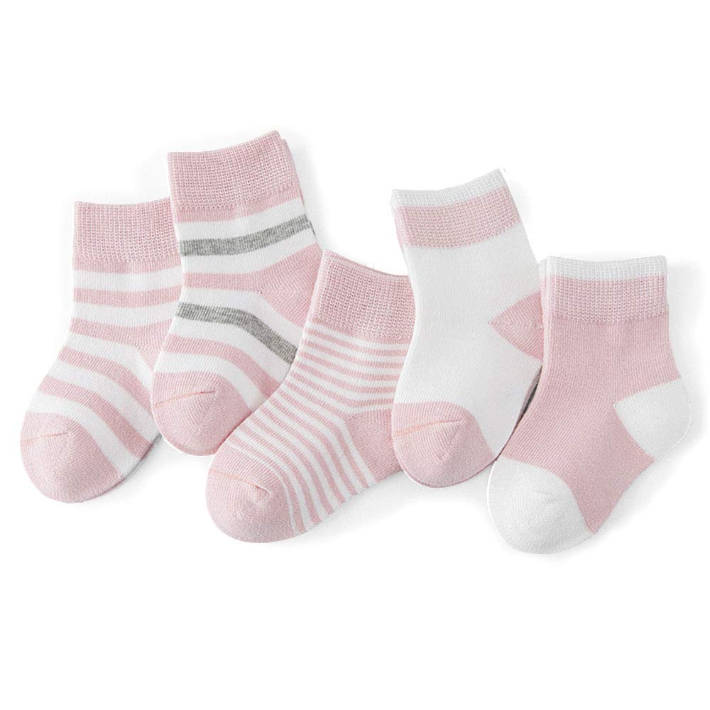 12-Pairs Cotton Socks for Toddler Boys Girls Anti-Slip Ankle Socks for Baby Walkers Non-Skip Stretch Knit Stripes Star Assorted Cotton Socks with Grip for 16-36 Months Baby HIFUAR