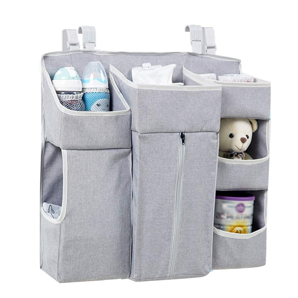 Bed Hanging Organizer Bedside Storage Bag Crib Hanging Bag Bed Storage Bag Multi-Function Baby Supplies Diaper Bag for Baby Cot Bunk Bed (Color : Gray, Size : 57X12X50CM) by Gralet-home