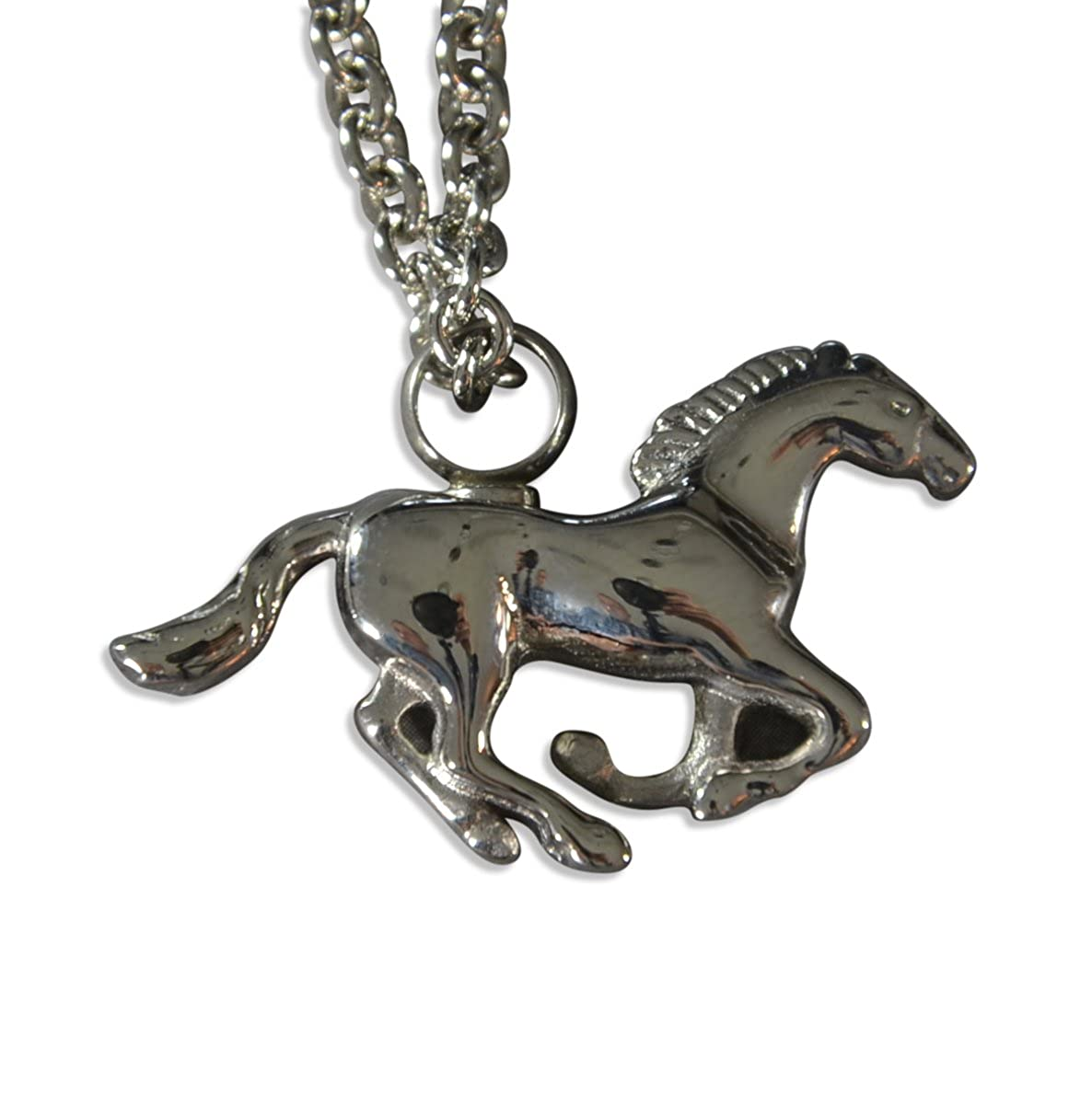 Silver Galloping Mustang Horse Urn Secret Stash Cremation Necklace Urn Stallion Keepsake Memorial Capsule Vial Gwen Delicious