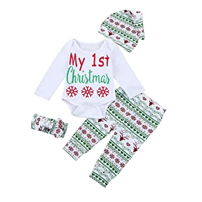 Alivego Newborn Baby Christmas Romper+Pants+Headband+Hat Set