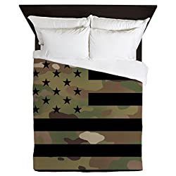 CafePress U.S. Flag: Military Camouflage Queen Duvet Cover, Printed Comforter Cover, Unique Bedding, Microfiber
