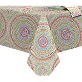 Circle Stitch Contemporary Print Indoor/Outdoor Soil Resistant Fabric Tablecloth - 60 X 84 Oblong