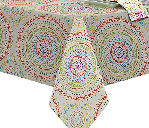 Circle Stitch Contemporary Print Indoor/Outdoor Soil Resistant Fabric Tablecloth - 60 X 102 Oblong