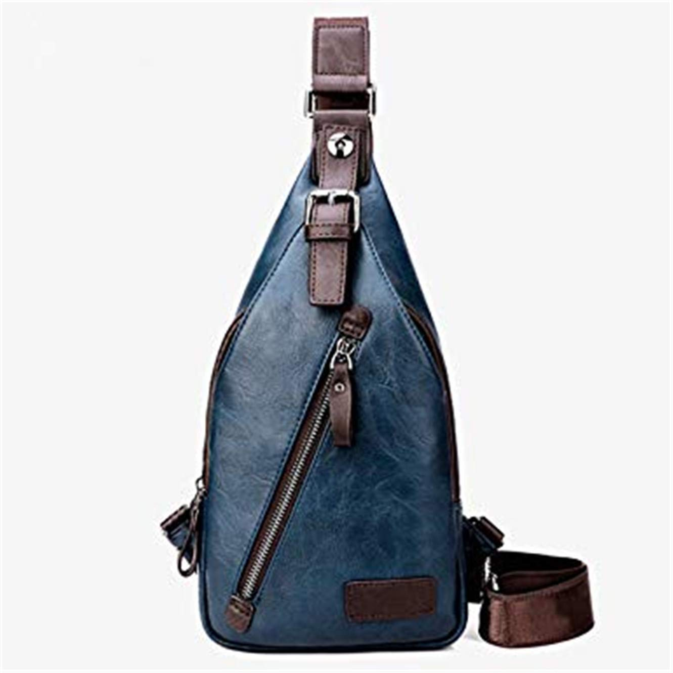 Men PU Leather Sling Chest Bag Crossbody Shoulder Messenger Travel Hiking Pack