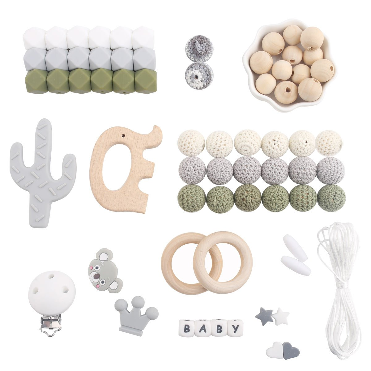 XD-TZ009 Baby Silicone Teething Beads Crochet Wooden Beads Silicone Rings BPA Free Chew Beads DIY Crafts Nursing Necklace and Bracelet Jewelry Pacifier Clip Pink Series