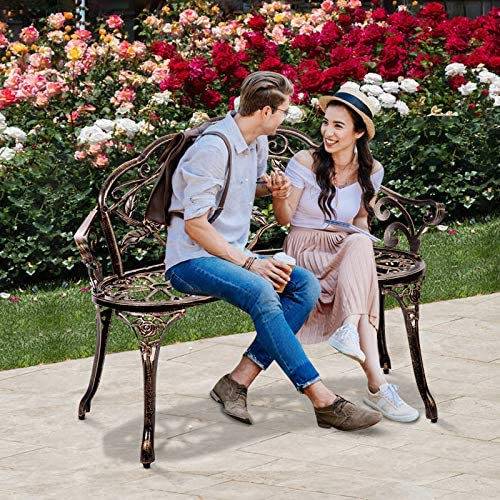 Patio Park Metal Bench Outdoor Garden Bench Romantic Rose Bronze Porch Chair