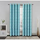 FlamingoP Room Darkening Ikat Fret Blackout Top Grommet Unlined Thermal Insulated Window Curtains, Set of Two Panels, each 52 by 63, Dusty Blue
