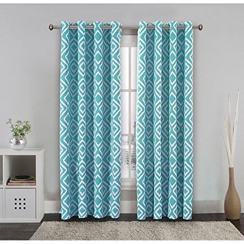 Printed Blackout Ikat Fret Room Darkening Dusty Blue Grommet Curtain