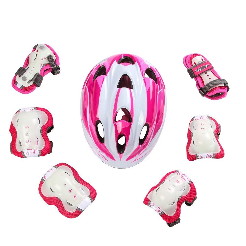子供用自転車用ヘルメット 子供のためのヘルメット、7ピース自転車超軽量調節可能な幼児子供プライマリ子供スケートボードなどスポーツヘルメット (Color : Pink)   B07NR499DL