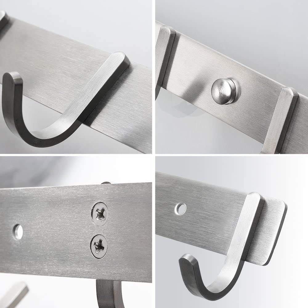 4 ganchos 6 ganchos 6 ganchos 8 ganchos a elegir Cepillado. de acero inoxidable multiusos ganchos de pared Perchero ERWEY con 1 gancho
