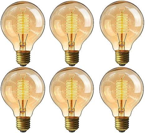 CMYK Vintage Grande lampadina Globo con gabbia di luce filamento della lampadina 60W vecchio Edison tappo a vite E27-confezione da 6