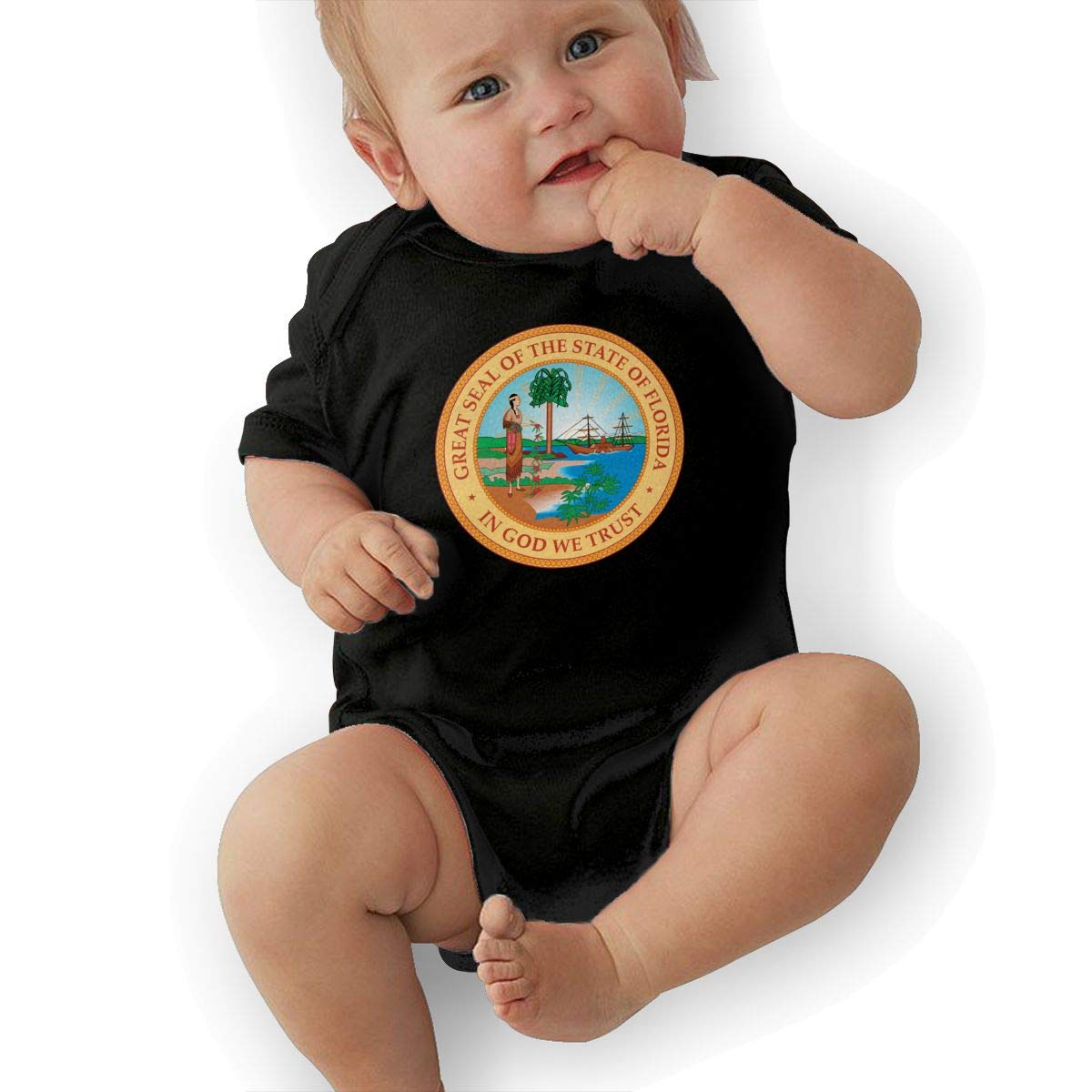 HappyLifea State Seal of Florida Newborn Baby Short Sleeve Romper Infant Summer Clothing