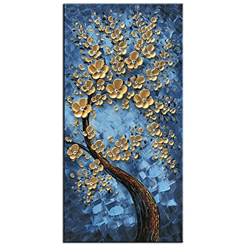 Tree of Life Blue Canvas Oil Paintings Wall Art Hand Painted Modern Abstract Framed Wall Paintings Ready to Hang For Bedroom Kichen Dining Room Home Decorations