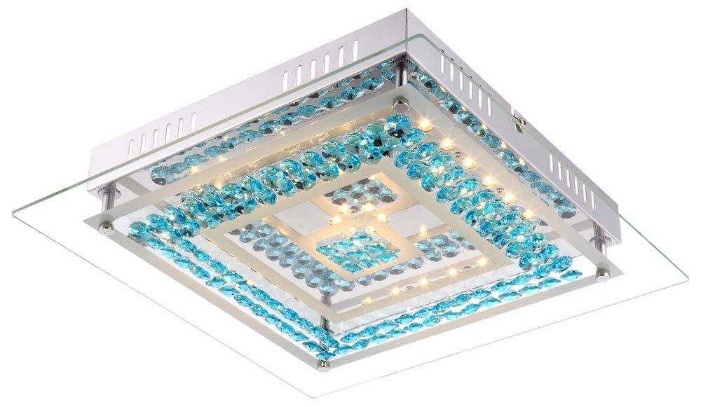 15 Watt LED Decken Lampe Schlafzimmer Leuchte Chrom Glas Kristalle türkis Globo 49354