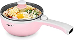 Dezin Electric Skillet, Non-Stick Frying Pan, Mini Rapid Electric Hot Pot with Glass Lid for Stir Fry, Roast, Steam with Temperature Control, Perfect for Ramen, Steak, Pink (Egg Rack Included)