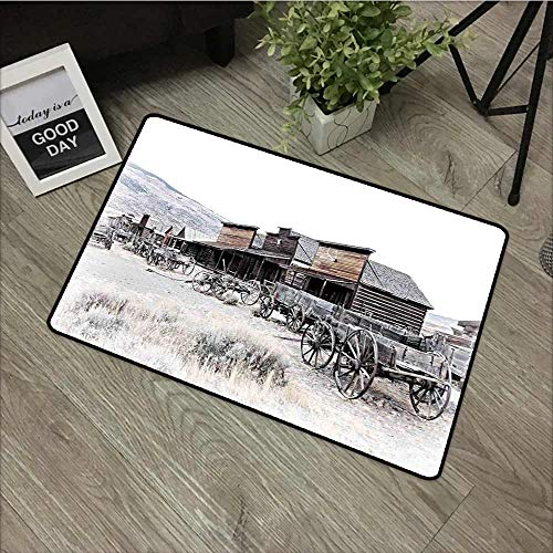 Fakgod Washable Doormat Western Old Wooden Wagons from 20s in Ghost Town Antique Wyoming Wheels Artwork Print All Season Universal 35