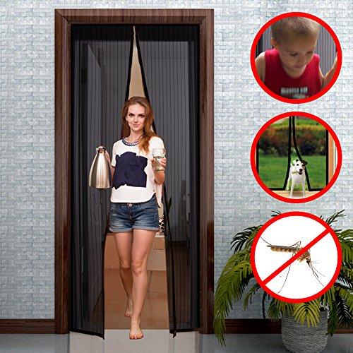 GIMARS Magnetischer Fliegengitter Vorhang 110*220 cm Sommer Aktuellste Insektenschutzvorhang Schwarz Magnetvorhang Fliegengittertür Moskitonetz mit Magnetverschluss