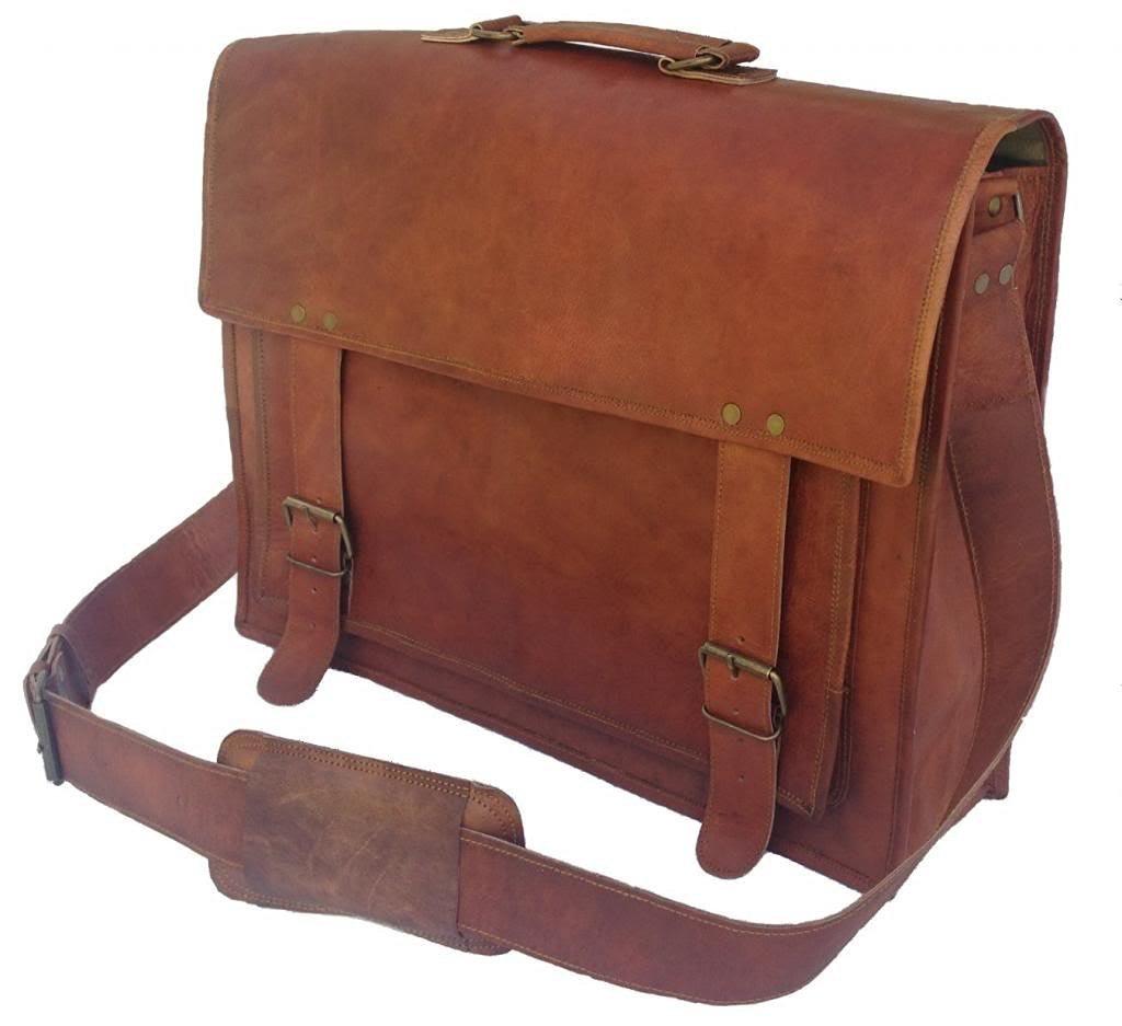 Universal leather 18 Inch Vintage Handmade Leather Messenger Bag for Laptop Briefcase Satchel Bag