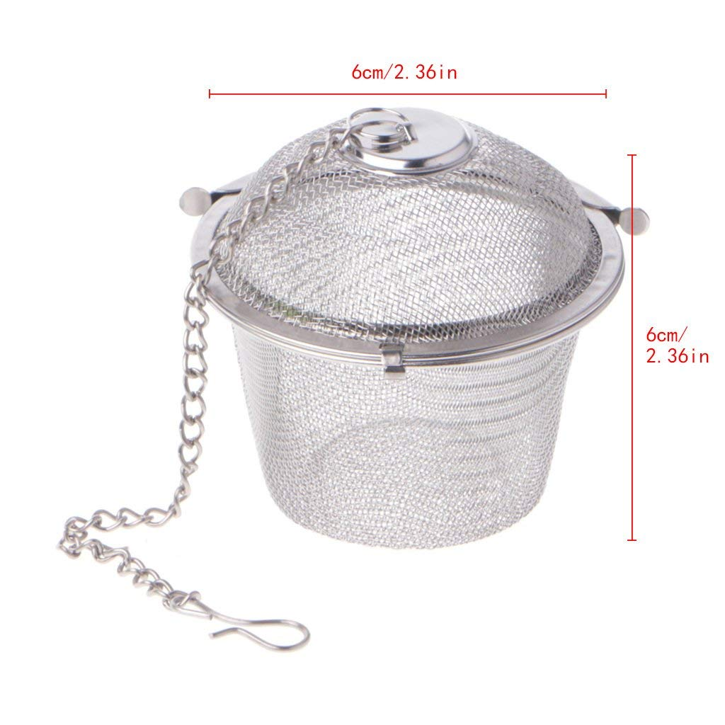 Yevison 3 Sizes Stainless Steel Ball Tea Infuser Strainer Mesh Filter Loose Leaf Spice Silver, Medium Premium Quality by Yevison