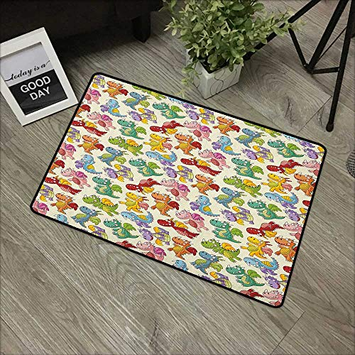 Learning pad W35 x L59 INCH Kids,Cartoon Fire Dragons Silly Expressions Colorful Flying Fantasy Fairy Tale Characters, Multicolor Non-Slip, with Non-Slip Backing,Non-Slip Door Mat Carpet