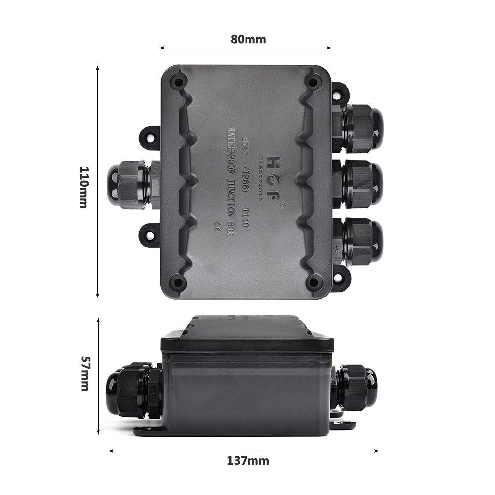 Nero 10 mm ATPWONZ Scatola di Giunzione IP66 Esterna a 4 vie Cavo del Connettore M16 Giunzione di Cavi di Sicurezza /Ø 5 mm