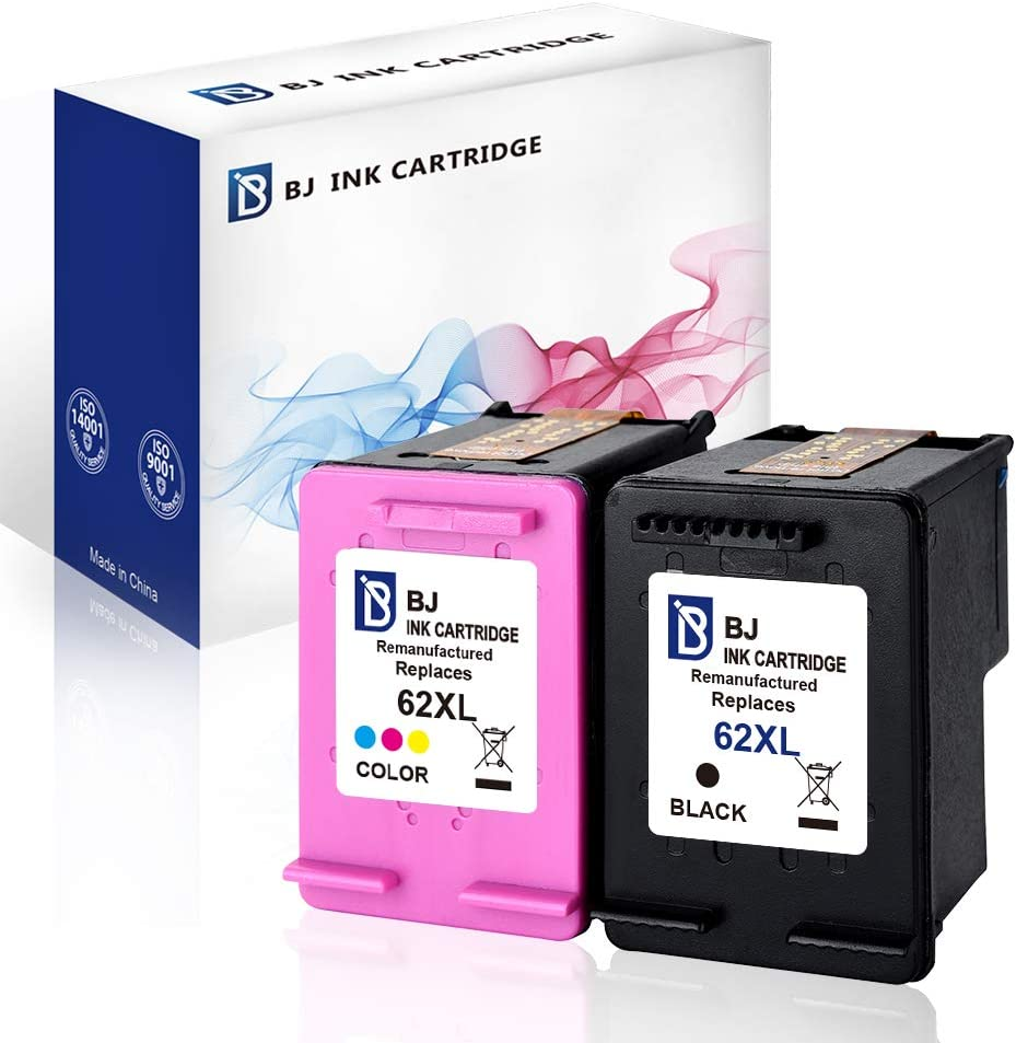 BJ Remanufactured Ink Cartridge Replacement for HP 62XL 62 XL Compatible with HP Envy 5540 5640 7640 5643 Officejet 5740 5743 Printer (1 Black,1 Tri-Color)
