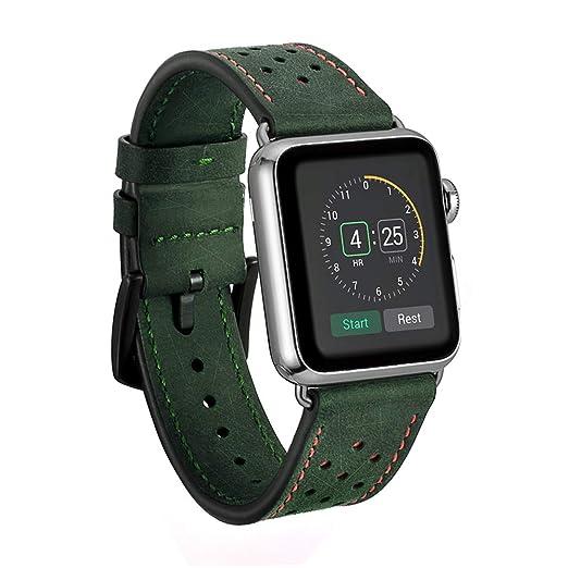 Dee Plus Correa Compatible para Apple Watch 38mm/42mm Correa Cuero, Reemplazo Clásico para