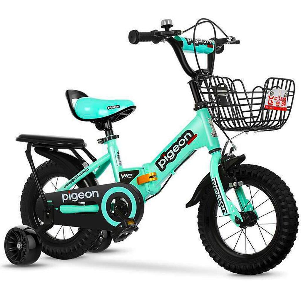 キッズバイク 子供用自転車 ファッション折りたたみ 子供用自転車 旅行 子供用自転車 3-10歳 子供用 自転車 男の子 女の子 アウトドア 自転車 持ち運び簡単 18 inches グリーン B07PVX7FPK